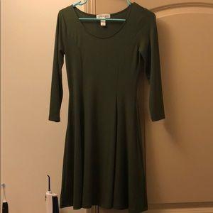 Green, long sleeve dress
